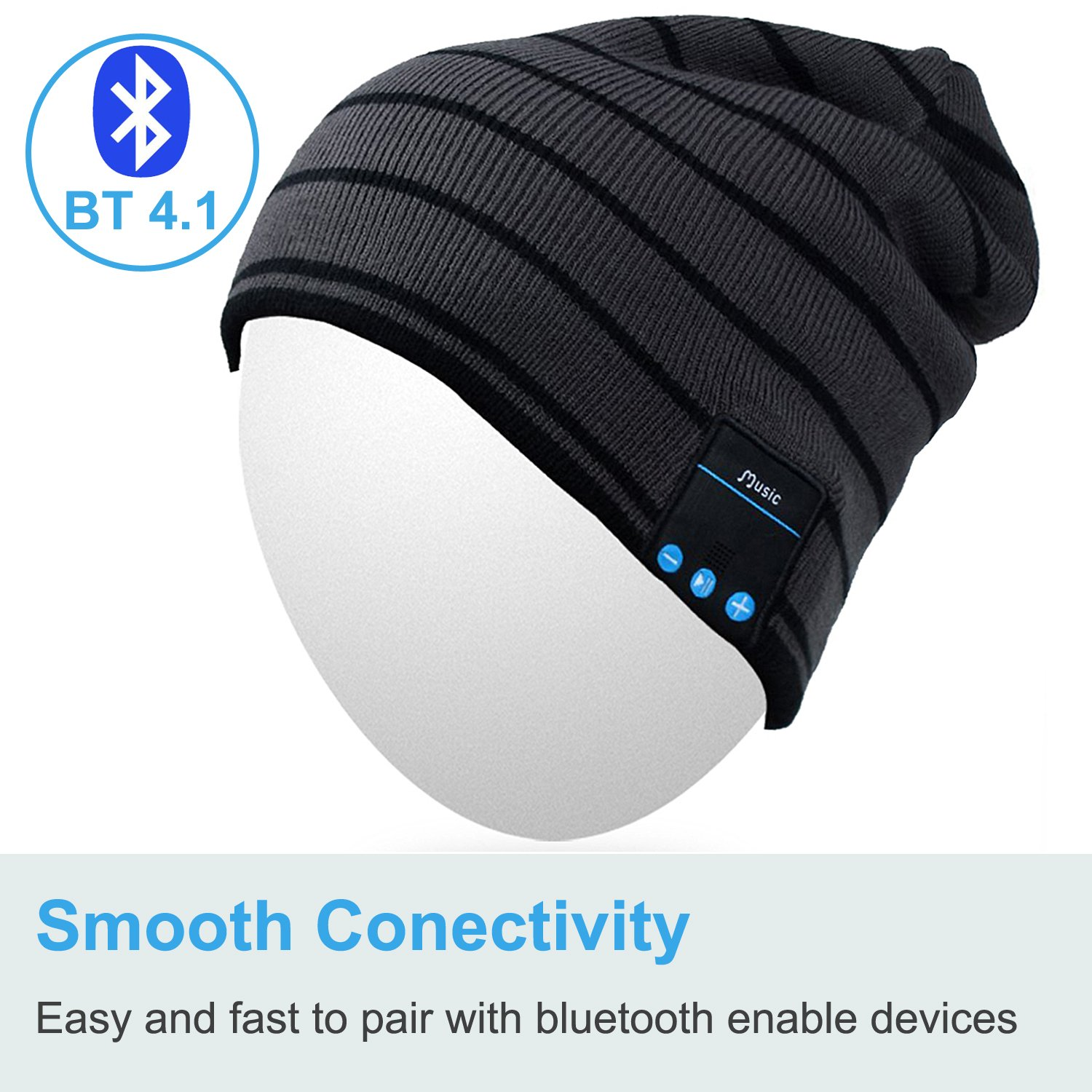 Washable hat Wireless Headphones for Outdoor Sports Qshell Bluetooth Beanie