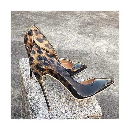8af17c5a6e58b HANBINGPO Fashion Women Leopard Patent Leather Pumps Pointed Toe 8-12cm  Stiletto Ultra High Heel