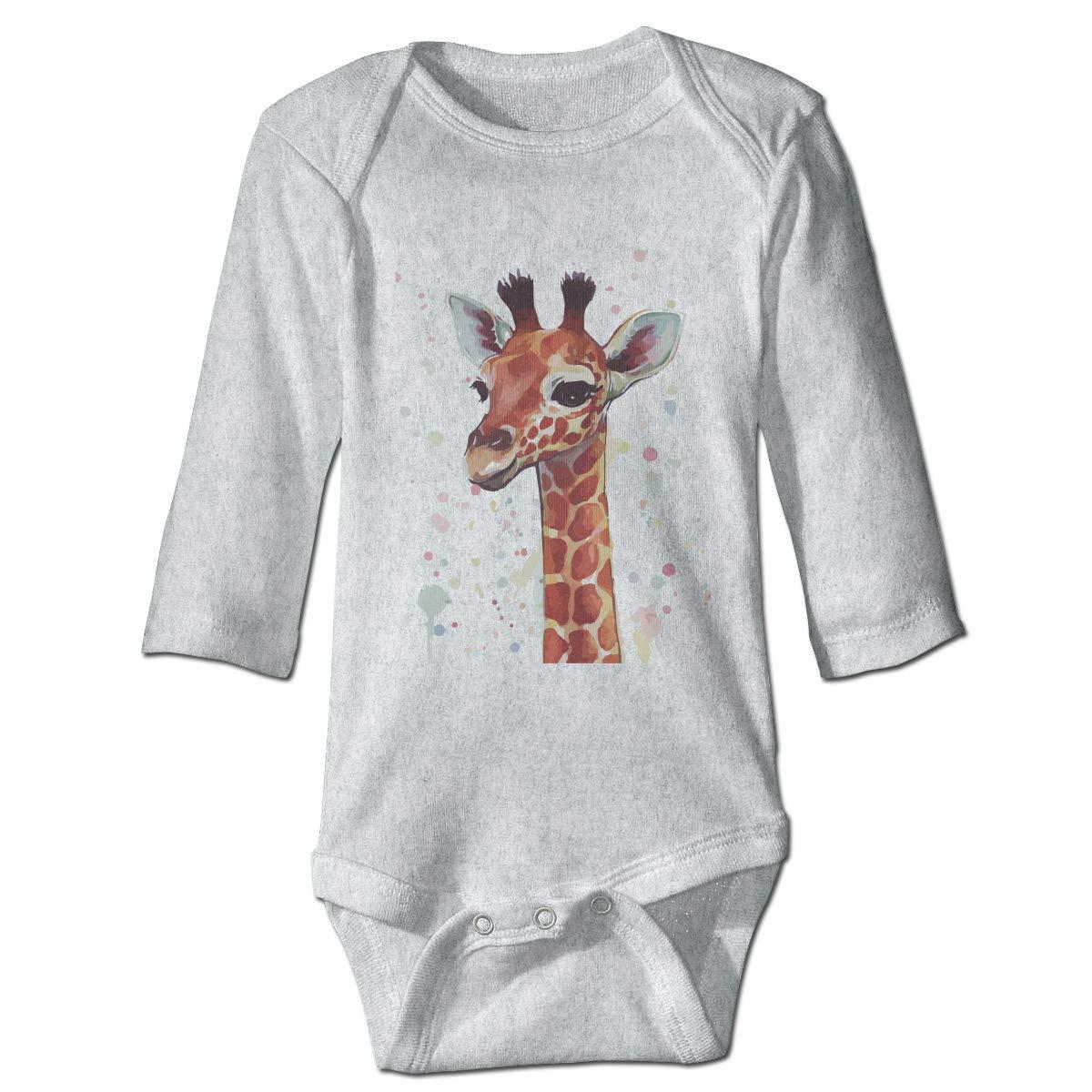 Dfenere Cute Giraffe Hip Hop Newborn Baby Long Sleeve Bodysuit Romper Infant Summer Clothing