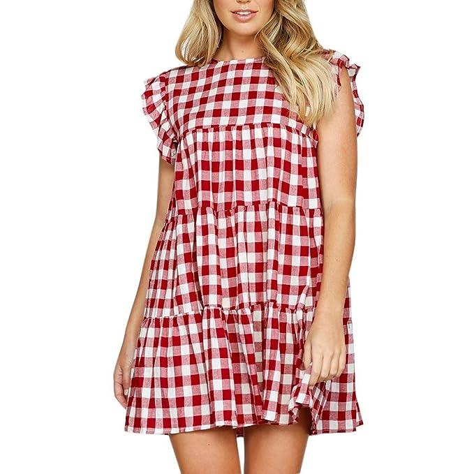 ffe45853e184fc Longra Damen Sommerkleid Rüschenärmel Knielang Strandkleid Kariertes Blusen  Kleid Elegant Partykleid A-Linie Kleider Frauen