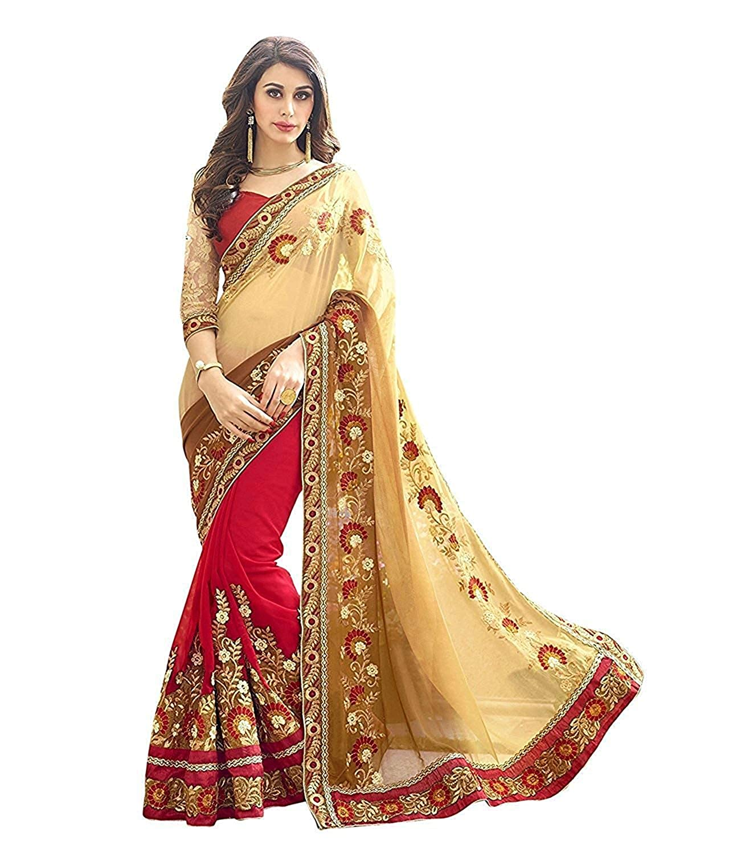 Ruchika Fashion Women's Georgette Saree (Beige_Free Size)