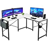 LUFEIYA L Shaped Desk White Computer Gaming Corner Table for Home Office Small Spaces Modern Study Bedroom Writing Desks 47 I