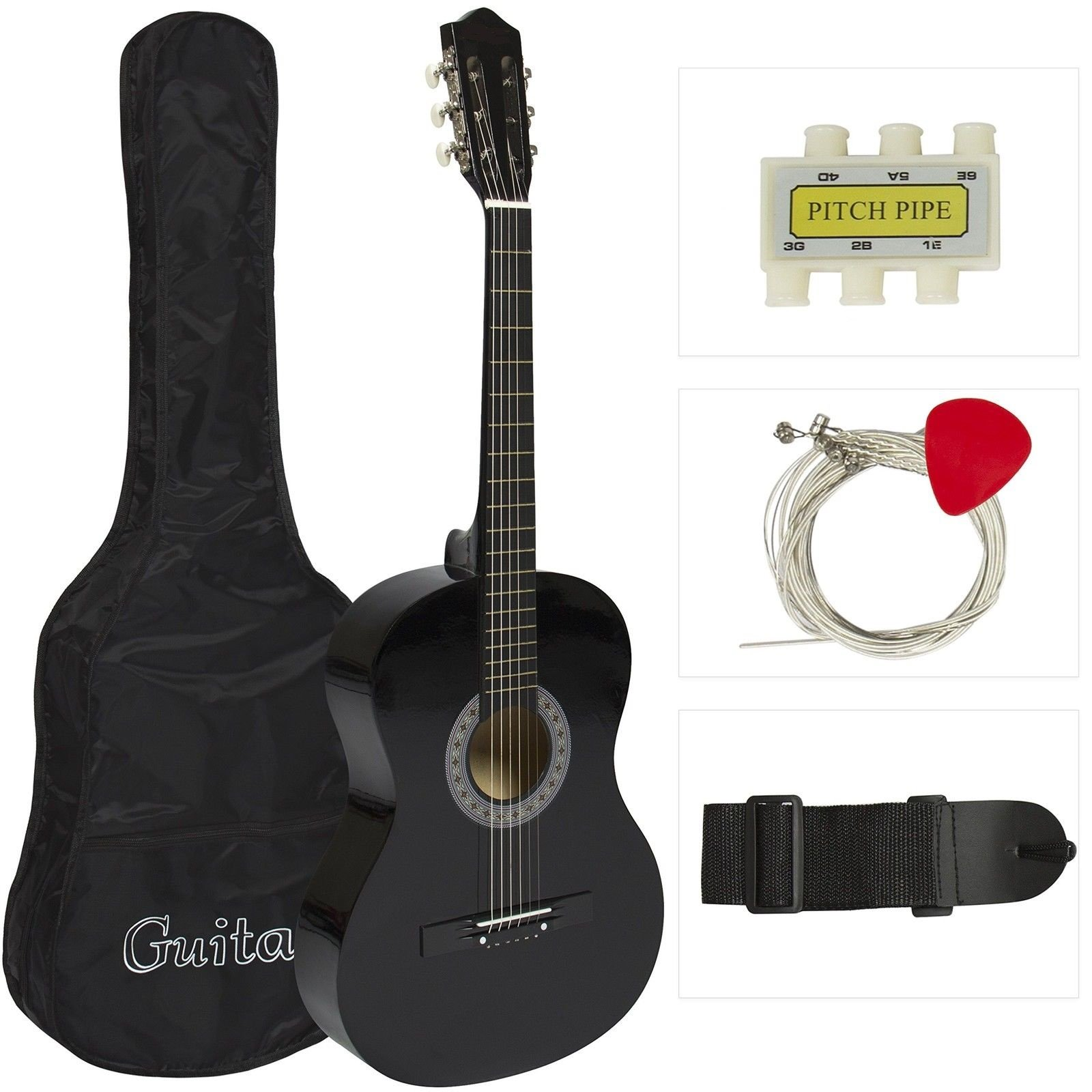 38'' BLACK Acoustic Guitar Starters Beginner Package, Guitars, Gig Bag, Strap, Pitch Pipe Tuner, 2 Pick Guards, Extra String & DirectlyCheap Pick (BK-AG38) [Teacher Approved]