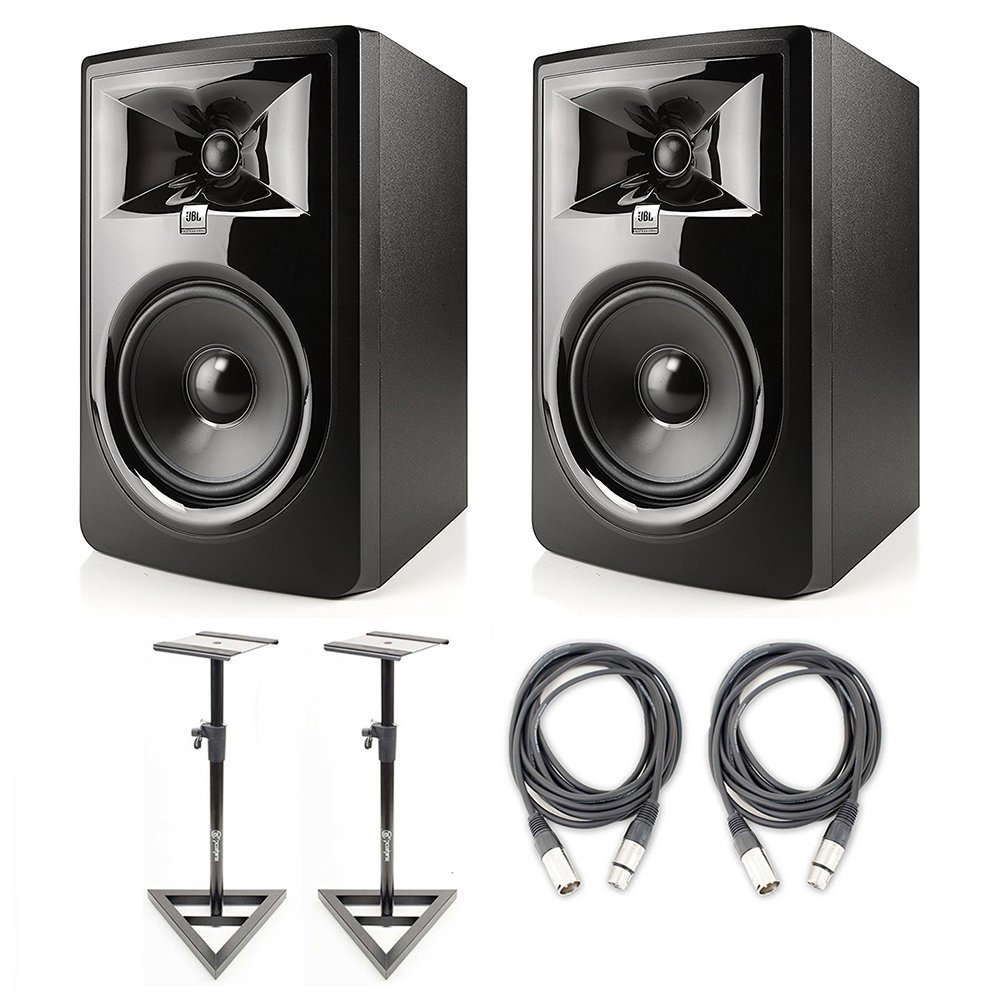 JBL 306P MkII 6.5'' Studio Monitoring Speakers (Pair) w/AxcessAbles Studio Monitor Stands and Studio Cables