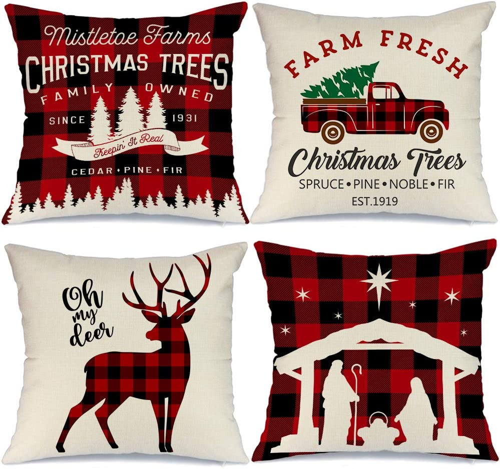 Buffalo Checkered Red Truck, Holy Scene, and Reindeer Pillow covers