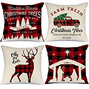 AENEY Farmhouse Christmas Pillow Covers 18x18 Set of 4 for Christmas Decor Buffalo Check Red Truck Throw Pillows Black and Red Buffalo Plaid Christmas Decorations Throw Pillow Covers