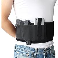 NIANPU Funda de Pistola de Banda de Vientre elástico Negro, con Bolsillo de Revista y 2 Correas elásticas para Gun   para Hombres y Mujeres