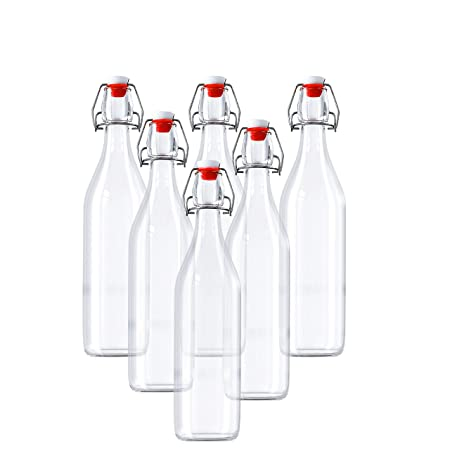 Compra Botellas de Vidrio Herméticas Con Tapón - 6 Pack (960ml ...