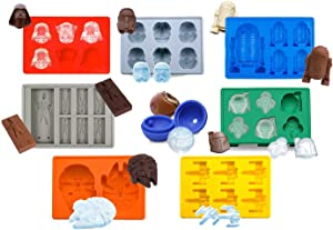 Set of 8 Star Wars Silicone Ice Trays/Chocolate Molds: Stormtrooper, Darth Vader, X-Wing Fighter, Millennium Falcon, R2-D2, Han Solo, Boba Fett, and Death Star