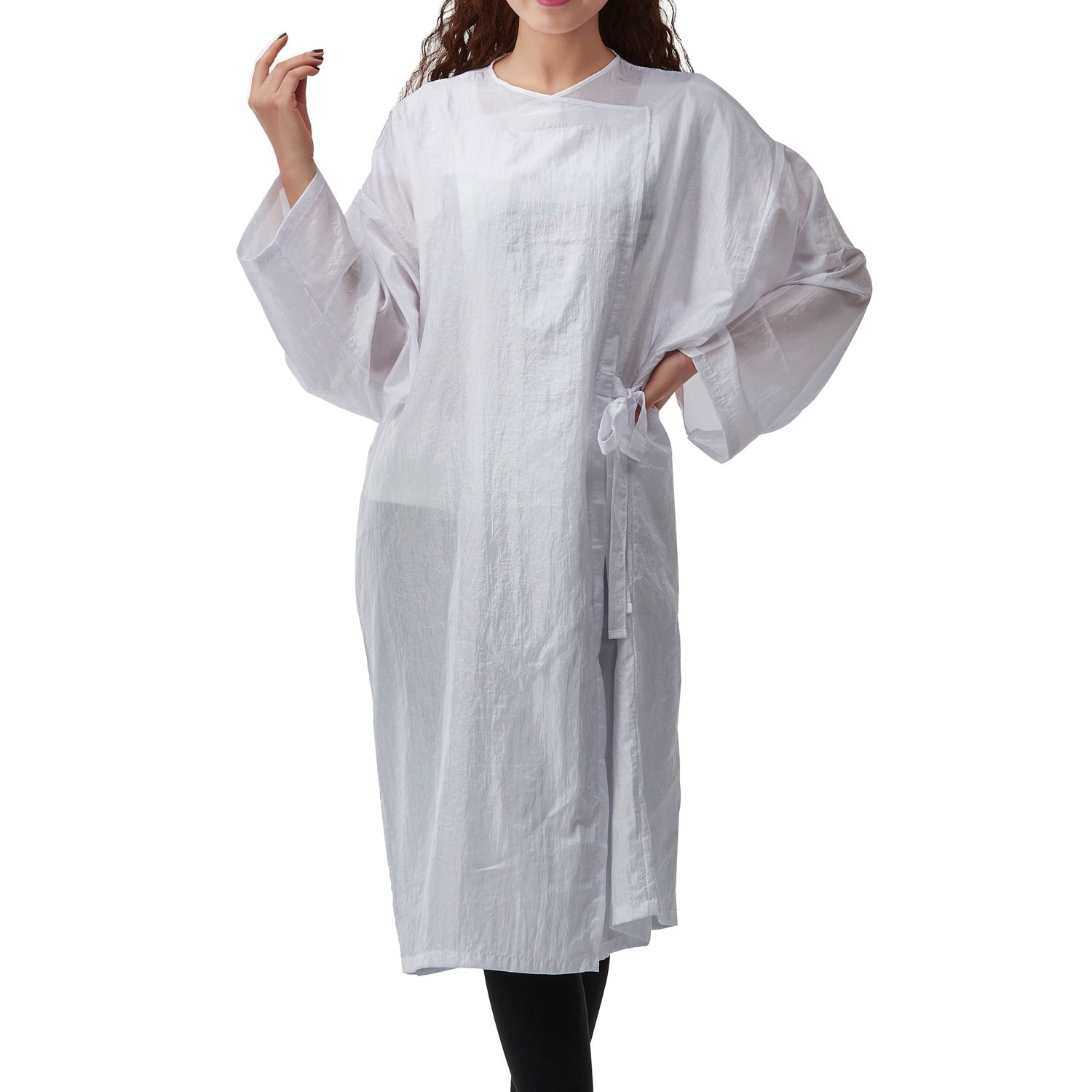Colorfulife Salon Client Gown Robe Crepe Large Smock Kimono Hairdressing Cape Dress Beauty SPA Hotel Barber Guest Clothes Night-gown Wrap (White) beautifulove