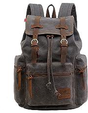 997e89f2ef1f Vintage Unisex Casual Leather Backpack Canvas Rucksack Bookbag Satchel  Hiking Backpack Travel Outdoor Shouder Bag