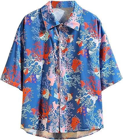 CAOQAO Camisa Hombre Hawaiana Manga Corta Verano Spagnolo Fashion Impresión Funky Seis Colores Suelto y cómodo: Amazon.es: Ropa y accesorios