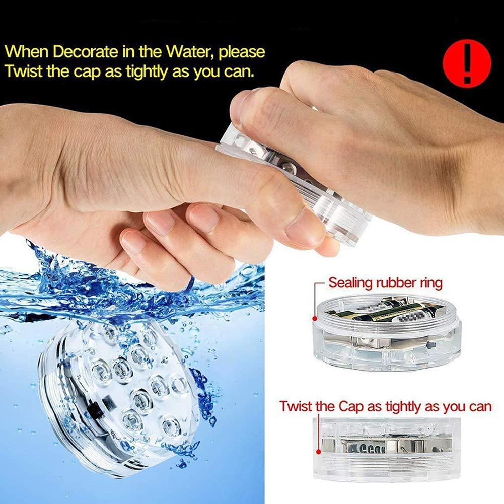 aquarium spa bassin jardin piscine Danolt 4 Pcs Lumi/ère LED Submersible /à LED avec t/él/écommande Changement de Couleur /Éclairage pour plan deau base de vase