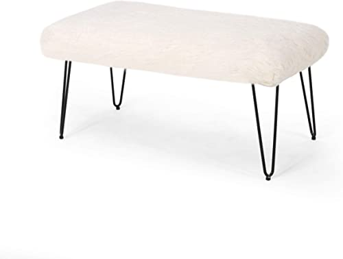 Christopher Knight Home Louise Faux Fur Bench with Hairpin Legs, White and Black Finish