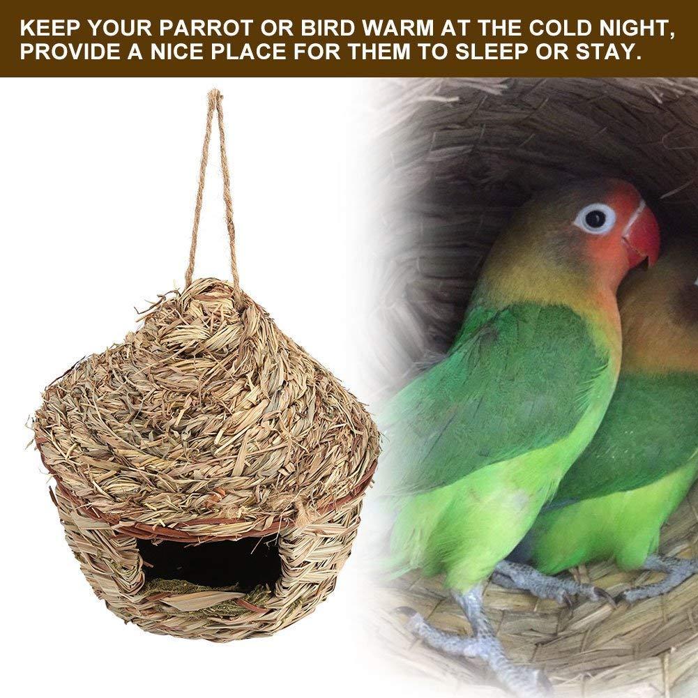 Stroh Vogelnest Haus Handgewebt Papagei Sittiche Haustier Zuhause Gartenarbeit