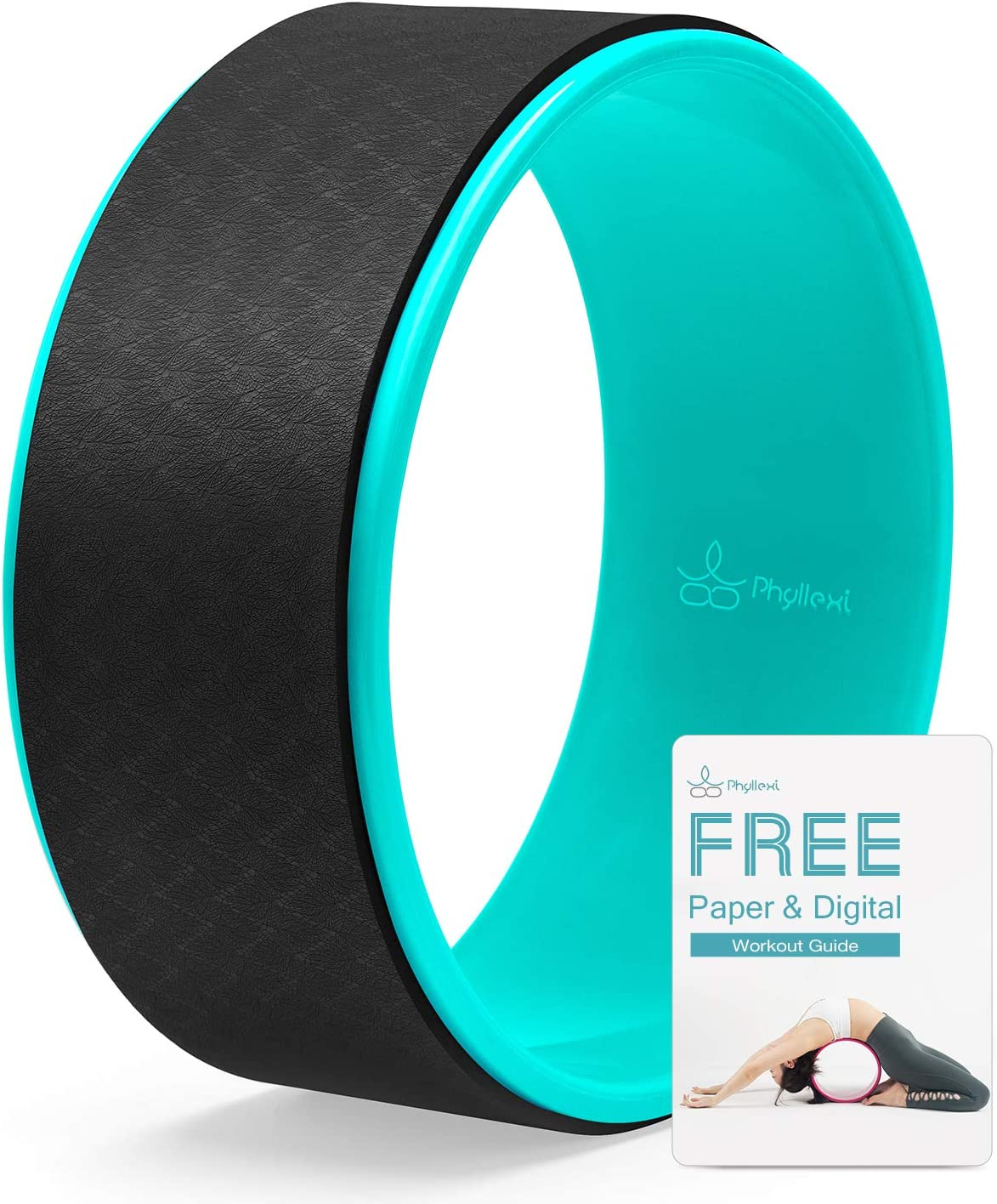 PHYLLEXI Yoga Wheel for Back Pain - Pro Grade Strong & Comfortable Large Dharma Yoga Wheel for Stretching and Improving Backbends