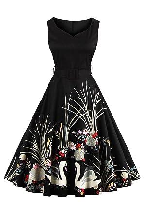 51ddc7e0f67 Ladylike 1950s Vintage Rockabilly Dress Audrey Hepburn Retro Dress with  Belt at Amazon Women s Clothing store