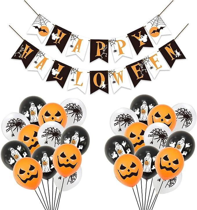 Decoración de Fiesta de Halloween Set,Liwein Globos de Halloween Happy Halloween Decoración de Banner para Bar Suministros de Decoración del Hogar