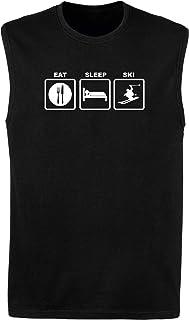 T-Shirtshock Canottiera Uomo Nera FUN1342 Eat Sleep Ski