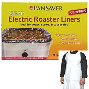 Pansaver Electric Roaster Oven Liners - 2 Liners - Fits 16,18 & 22 Quart Roasters. Includes a FREE Superior Individually Wrapped Apron. Perfect For TURKEYS