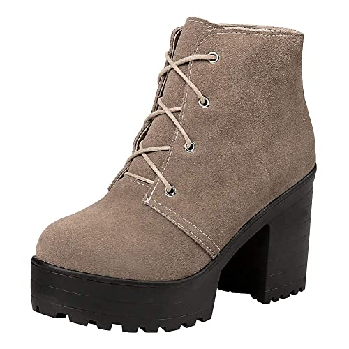 Jamron Mujer Piel Genuina Talón de Bloque Plataforma Alta con Cordones Botines: Amazon.es: Zapatos y complementos