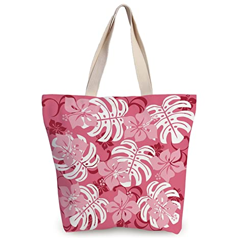 Amazoncom Iprint Stylish Canvas Tote Bagluauhibiscus Flower With