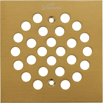vouruna 4-Inch Screw-In Shower Strainer Drain Cover Replacement Floor Strainer antique brass