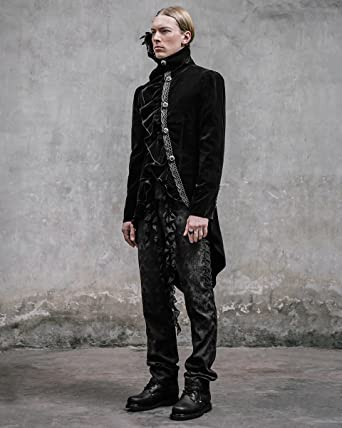Devil Fashion Requiem Veste pour Homme Queue-de-Pie en Velours Noir  Gothique Steampunk 81stgeneration Chaîne  Amazon.fr  Vêtements et  accessoires 0cd9b9757ae