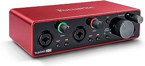 Focusrite Scarlett 2i2 (3rd Gen) USB Audio Interface with Pro Tools | First, Red (AMS-SCARLETT-2I2-3G)