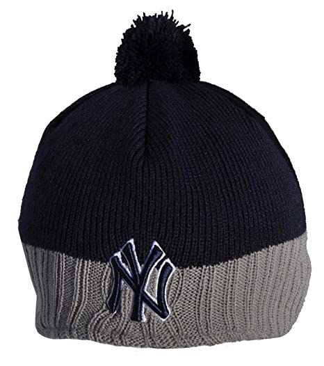 547a67b8118842 New Era - NY Yankees Grey + Blue Dog Ear Bobble Beanie Hat (bh128):  Amazon.co.uk: Kitchen & Home
