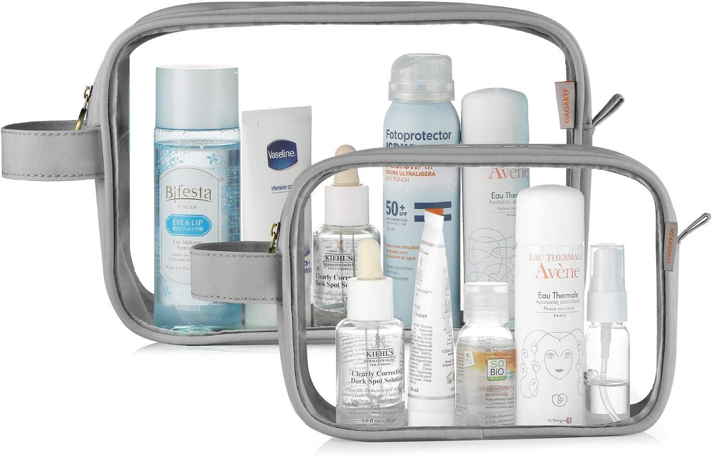 GAGAKU 2pcs Trousse de Toilette Transparente Sac Cosm/étiques Imperm/éable Trousses /à Maquillage pour Voyage