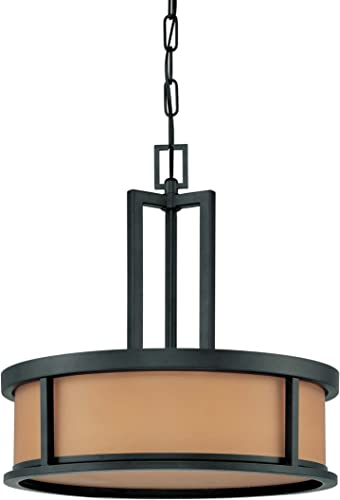 Nuvo Lighting 60 3827 Odeon 4-Light Pendant with Parchment Glass, Aged Bronze