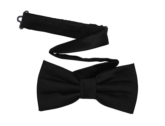 bf5366e46338 Black Bow Tie for Men - Pre-tied Adjustable Solid Satin Formal ...