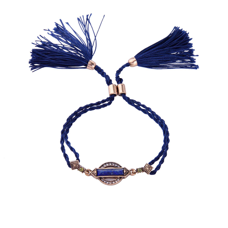 Miss Kiss Tribal Ethnic Style Natural Stone Crystal Royal Blue Tassel Pendant Braided Rope Bracelet 9.4