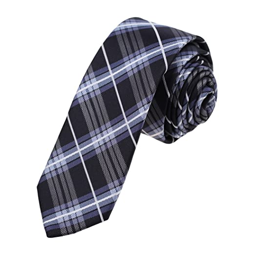 2623a27d583b Amazon.com: Epoint EAEC0060 Black Blue White Checkered Microfiber Slim Ties  For Business Skinny Tie: Clothing