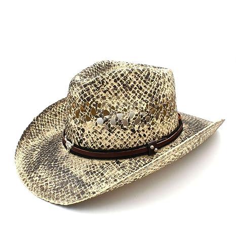 ZHJTMC Sombrero Hombre Vaquera Jazz Mujer Hombre Paja Sombrero de Vaquero  Occidental Tejido a Mano Lady 59ed6cabdc1