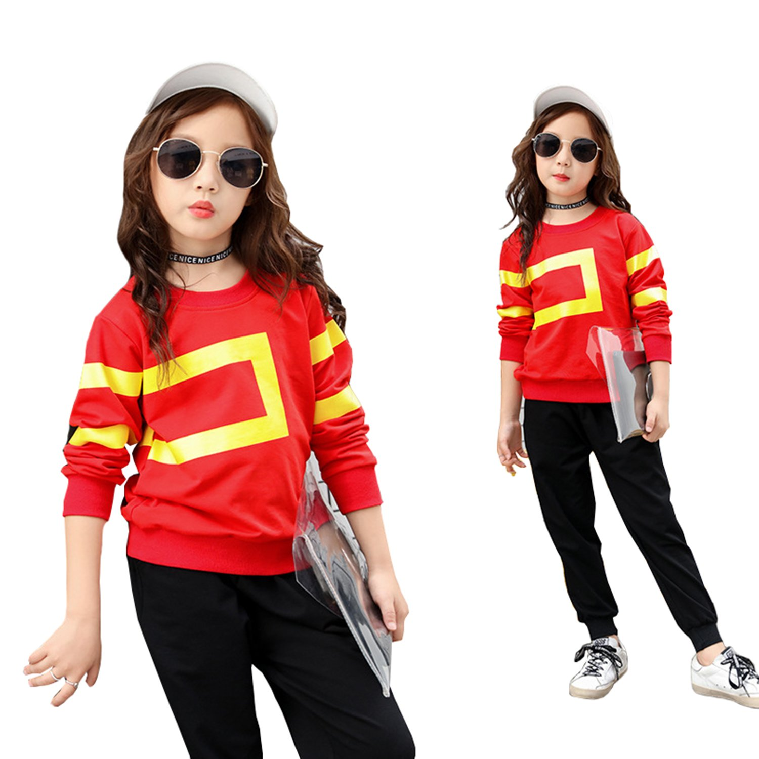 Stven Hetick Girls 2018 Spring New Childrens Clothes Geometric Printing Cotton Long Sleeved T-Shirt Pants Sets