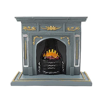 Melody Jane Dollhouse Grey & Gold Fireplace with Flaming Fire 1:12 Scale Resin Furniture: Toys & Games