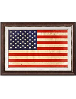 6e62bd6cc8a6 DECORARTS - American Flag. Giclee Print  Brown Framed Art for Wall Decor.  24x16