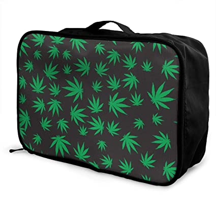 NEW BLACK /& GREEN WATER RESISTANT CANVAS WEED,CANNABIS LEAF TOTE,HAND BAG