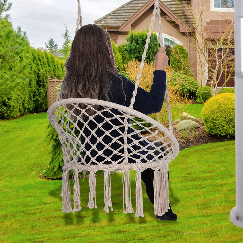 Hammock Chair - Macrame Swing 330 Pound Capacity Handmade Hanging Swing Chair Prefect for Indoor/Outdoor Home Patio Deck Yard Garden Reading Leisure (White) by Hunzed Home & Kitchen (Image #5)