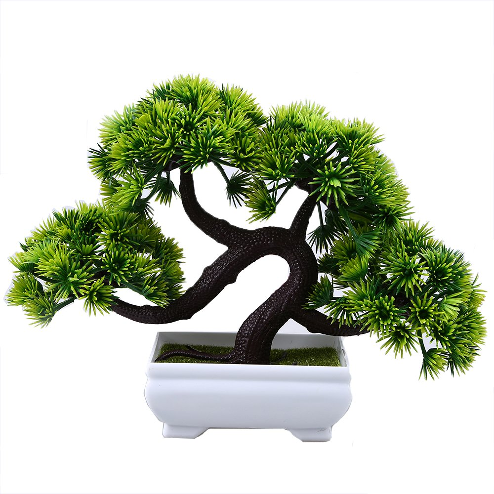 WCIC Artificial Pine Bonsai, Fake Potted Plants Decor for Home Office Green
