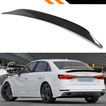Cuztom Tuning Fits for 2017-2019 Audi A4 S4 Sline B9 CAT Style Carbon Fiber  Highkick Trunk Spoiler Wing