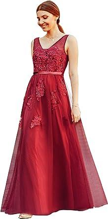 Ever Pretty Womens Elegant Floor Length A Line Sleeveless Appliques Tulle Formal Evening Dresses EZ07545