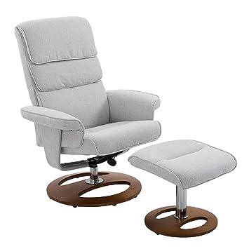 Admirable Homcom Recliner Chair Ottoman Set 3600 Swivel Sofa Stool Modern Soft Thick Padding Wood Base Grey Creativecarmelina Interior Chair Design Creativecarmelinacom