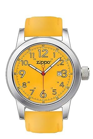 Zippo 45005 - Reloj para hombres, correa de cuero color amarillo