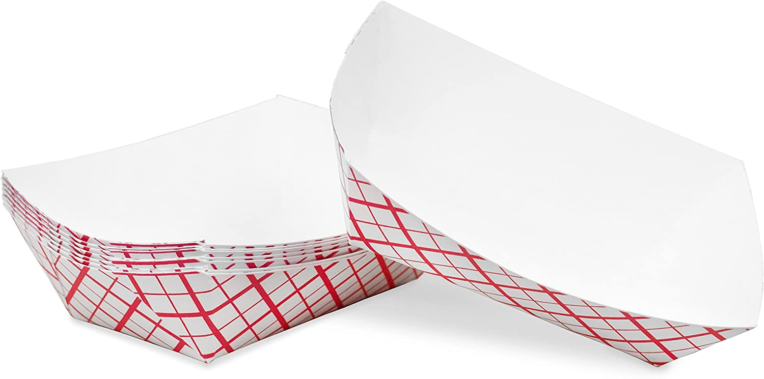 1/2 lb Red White Plaid Disposable Paper Food Tray for Carnivals, Fairs, Festivals, Concession Stands, Food Trucks (Red Check - extra small 1/2 lb, 25)