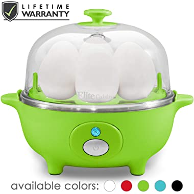 Elite Cuisine EGC-007G Easy Electric Egg Poacher, Omelet, Scrambled, Soft, Medium, Hard-Boiled Boiler Measuring Cup Included, 7 Capacity, Lime Green