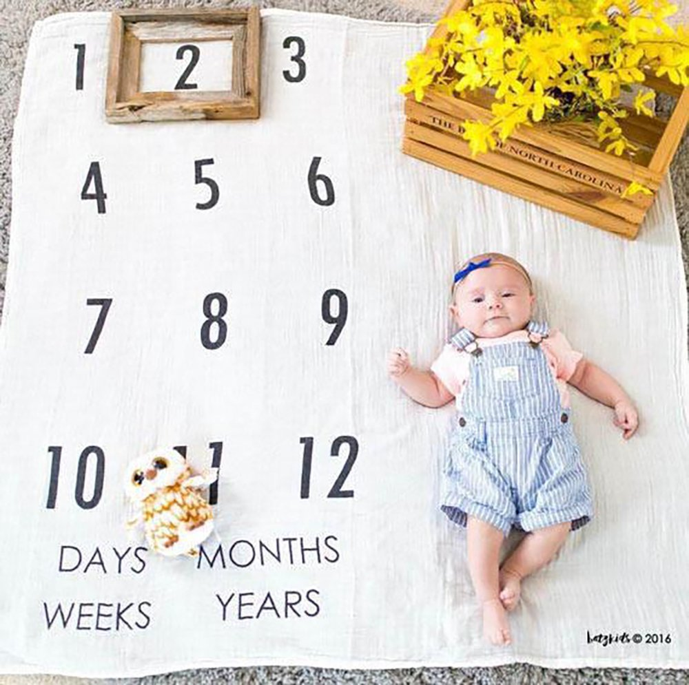 Baby Growth Milestone Blanket Photography Background Prop Photo Shoots Backdrop for Newborn Growing Infants Toddlers Baby Shower Gift - Numbers Ohomr