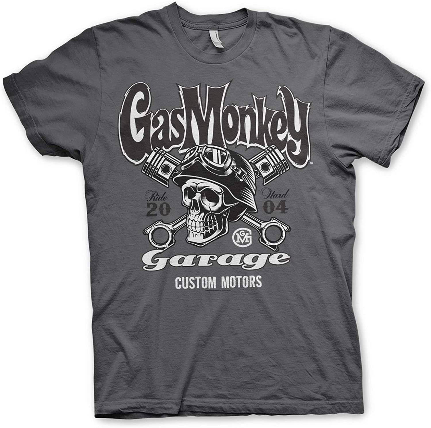 Custom Motors Skull T-Shirt Maglia Maglietta GMG Licenza Originale Gas Monkey Garage Officially Licensed